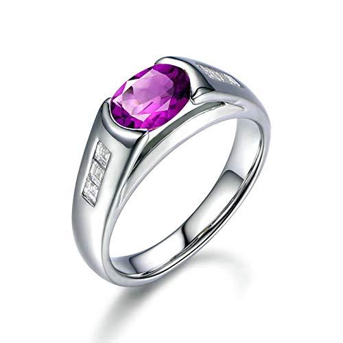 Bishilin Anillo de Compromiso de Plata de Ley 925 para el Ella Clásico Moderno Anillos de Amistad Púrpura Oval Cristal Piedra Natal de Febrero Anillo de Bodas de Compromiso Plata Talla: 18,5