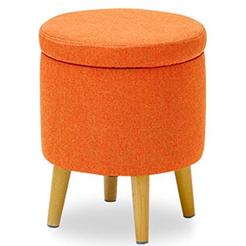 LI MING SHOP förvaring fotpall stol rund pall soffa stegkudde toalettbord multifunktionell sko byte ottoman (färg: orange, storlek: 37 x 45,5 cm)