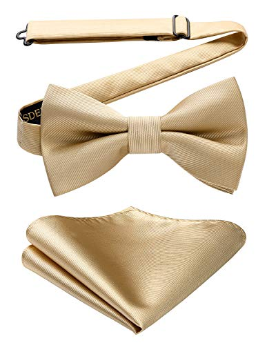 HISDERN Herren Fliege verstellbar Beige Köper Einstecktuch Set Hochzeit,Anzug,Smoking klassisch Geschäft