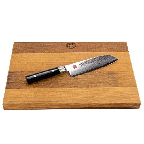 Palatina Werkstatt ® Kasumi Masterpiece Santoku MP07 | 180 mm | + handgemaakte houten plank | 40 x 30 cm | VK: 358,- €