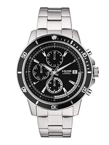 s.Oliver Herren Chronograph Quarz Uhr mit Edelstahl Armband SO-3860-MC