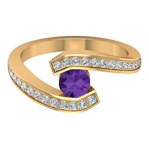Anillo de compromiso de derivación, anillo de lavanda creado en laboratorio de 1 quilate, anillo de compromiso de diamantes HI-SI, anillo solitario con piedra lateral, 10K Oro amarillo, Size:EU 48