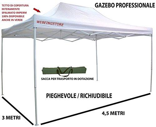 Gazebo pieghevole impermeabile in alluminio 3x4,5m per giardino, Mercanti, Fiere, Bianco Mod. MAIORI