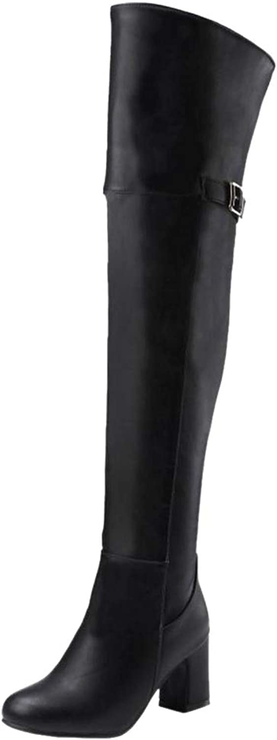 NIGHT CHERRY Women Block Heel Over The Knee Boots Half Zipper