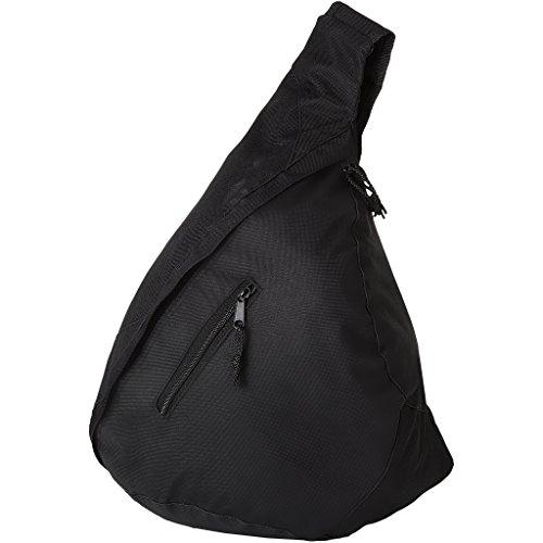 Schultertasche Dreieck-Rucksack Umhängetasche mit Vorfach in schwarz