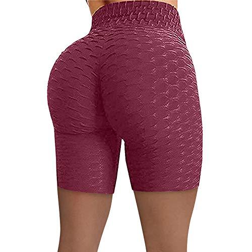 1/2 Mallas Running Mujer Yoga Fitness Panal Arrugado Cortos Leggins Mujer Push Up Color sólido Cintura Media Pantalones Deportivos