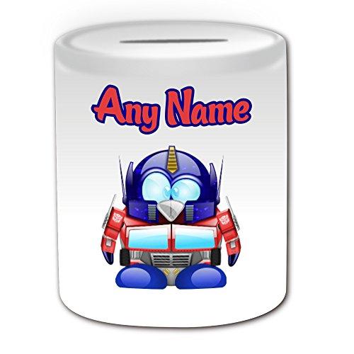 Gepersonaliseerd geschenk - Optimus Prime Money Box (Penguin Film Character Design Thema, wit) - Elke naam/bericht op uw unieke - Spaar Piggy Bank - Kostuum Film Superheld Hero Transformers Autobot Robot Alien