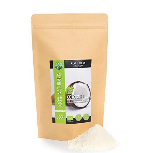 Farine de noix de coco biologique (500g), qualité alimentaire crue issue de culture biologique contrôlée, sans gluten, sans lactose, testée en laboratoire, végétalienne