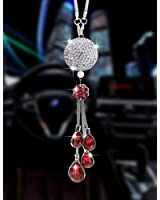 Bling Car Accessories for Women and Man,Cute Car Decor Bling Car Mirror Hanging Accessories Crystal Ball,Lucky Crystal Sun Catcher Ornament,Rear View Mirror Flower Charm Decor (Red)