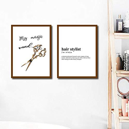 SHUTIAOQUN Haarstylist Definition citaat canvas afdrukken kapper cadeau gouden schaar poster schoonheidssalon muurkunst schilderij spa decoratie 40 * 50 cm * 2 zonder lijst