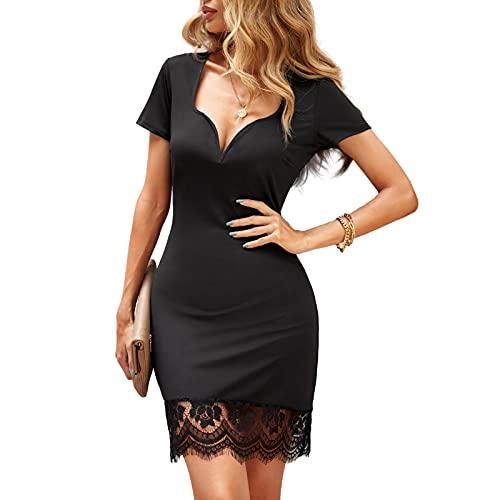 AMABILEMIA Kleid Damen Elegant Spitze Mini Kleid Sexy Schlauchkleid Schwarz Kurzarm Zeremonie Kurz V-Ausschnitt Abendkleid Cocktail Sommer DS-223940 L
