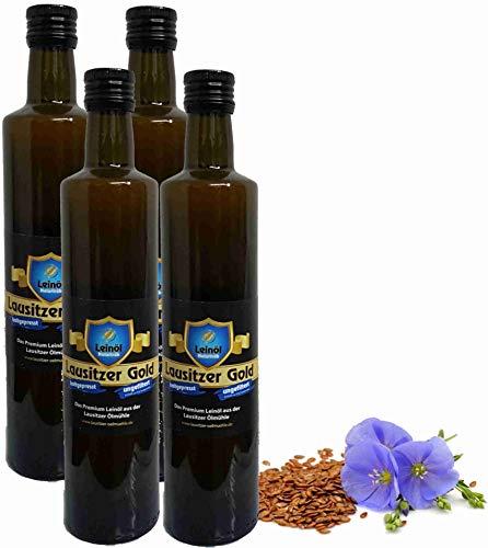 Leinöl Lausitzer Speiseleinöl Lausitzer Gold 4 x 500 ml ungefiltertes Premium Leinöl kaltgepresst und frisch abgefüllt