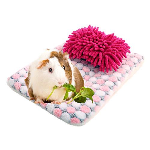 SAWMONG Guinea Pig Sleep Bed Mat Pad, Small Animals Soft Pillow for Hamster Hedgehog Dwarf Rabbit Chinchilla Mat House Nest Accessories (Pink)