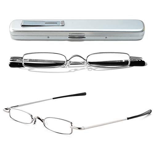 VEVESMUNDO Lesebrille Metall Klassische Scharnier Schmal Stil Brille Lesehilfe Augenoptik Vollrandbrille Mit Etui (1 Stück Silber Lesebrille, 2.5)