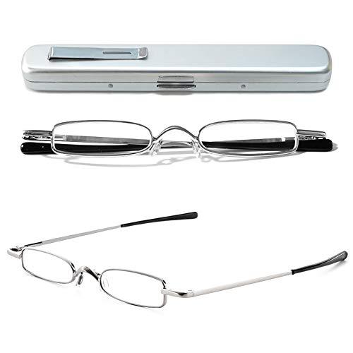 VEVESMUNDO Lesebrille Metall Klassische Scharnier Schmal Stil Brille Lesehilfe Augenoptik Vollrandbrille Mit Etui (1 Stück Silber Lesebrille, 2.0)