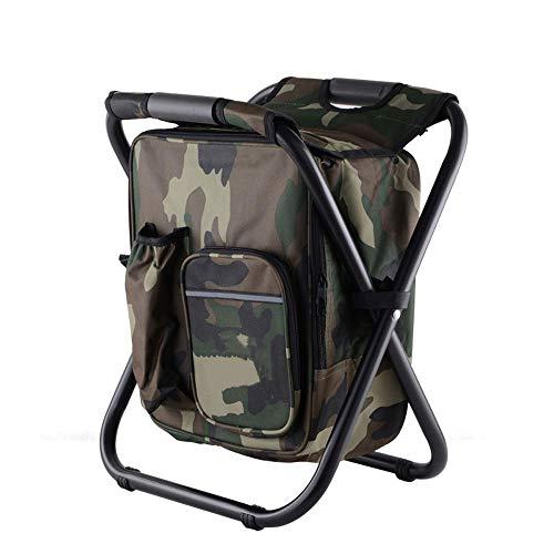 YANGCHEN Tragbarer Angelhocker mit Isolationstasche kann zurück Sein Strandkorb leichte Outdoor-Kühlschrank Hocker Stuhl (Tarnung)