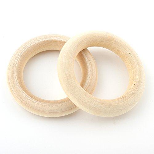 Perlin Holzring Ø 40mm Natur Holzringe Schmuck 20stk Holzringe Unvollendete glatten Hoop Baby Kinder Spielzeug Vorhangringe Ringe aus Holz für das Handwerk Basteln Schmuckherstellung H164