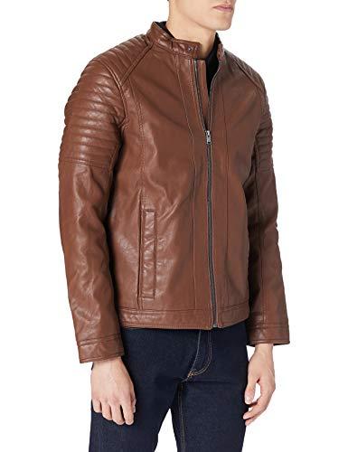 Tom Tailor Bikerstyle Chaqueta de Cuero sinttico, Marrón (26305-Mid Brown Fake Leather, XL para Hombre