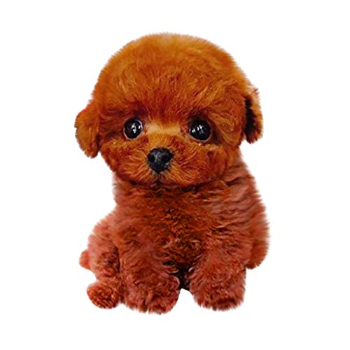 HSKB Realistische Teddy Dog Lucky, Simulation Elektrisch Teddy Dog Lucky Cute Pudel Plüschpuppe Welpe Suffed Doll, Plüsch Stofftier Hündchen, Weihnachten Stofftier Hund, Kuscheltier Spielzeug (C)