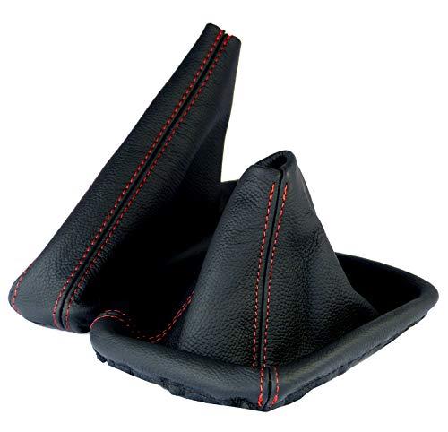Intersale L&P A0182 Funda Saco Cuero Piel Genuina Negro Costura roja Rojo Palanca de Cambios Cambio Compatible con BMW e46 velocidades Marchas Saco de conmutación y Freno de Mano estaciona