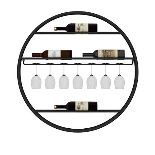 RENSLAT Creative - Estante para vino de pared para montar en la pared, estante redondo para vino, hogar, barras, cafés (color: negro)