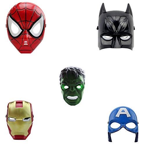 FankGlasses – Juego de 5 máscaras: Spider-Man, Batman, Hulk, Iron Man, Capitán América
