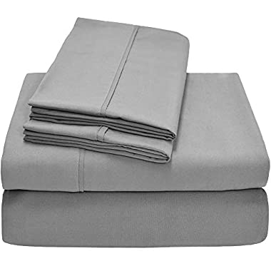 Bare Home Premium 1800 Ultra-Soft Microfiber Collection Sheet Set - Double Brushed - Hypoallergenic - Wrinkle Resistant - Deep Pocket (Full, Light Grey)