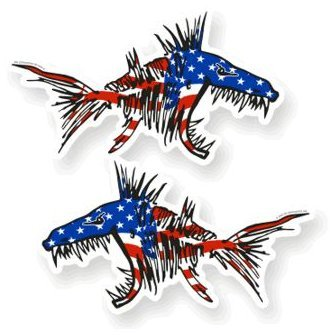 2 Pieces Set #6 | USA Aggressive Kayak Decals Fish Bones Skeleton Stickers for Kayak Canoe Fishing Boat Wall Car Accessories