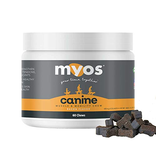 MYOS Canine Muscle & Mobility Chews – Natural Collagen & Glucosamine for Dogs - Bacon Flavor Joint Supplement for Muscle, Bone & Joint Support, 60 Count