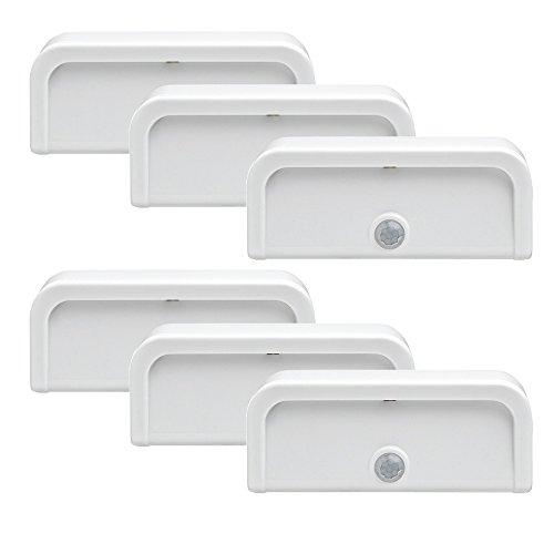 Mr. Beams MB706 Wireless Motion-Sensing Mini Stick-Anywhere LED Nightlights, Small, White, 6-Pack