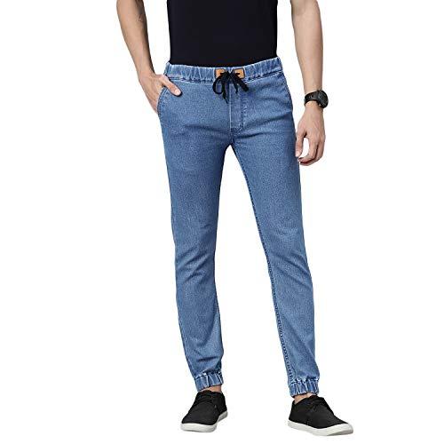 Urbano Fashion Men's Light Blue Slim Fit Washed Jogger Jeans Stretchable (epsjeanjogger-lblu-34)