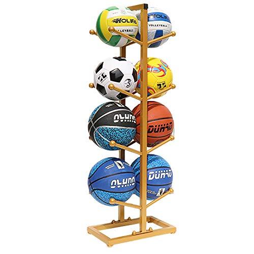 Estante de Pelota Inicio de Bolas de Deportes Dobles para Interiores, Estante de Almacenamiento de Fútbol de Baloncesto, Organizador de Equipo Deportivo Extraíble, Dorado (Size : 4 Tier)