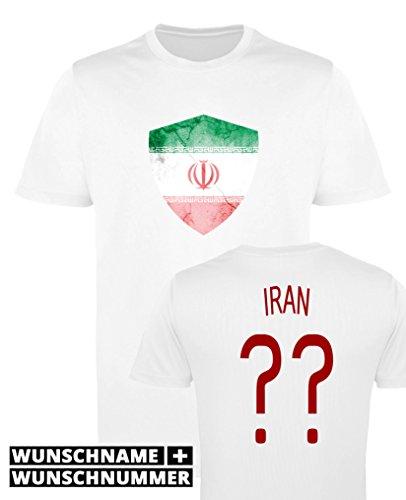 Comedy Shirts - Iran Trikot - Wappen: Groß - Wunsch - Herren Trikot - Weiss/Rot Gr. L