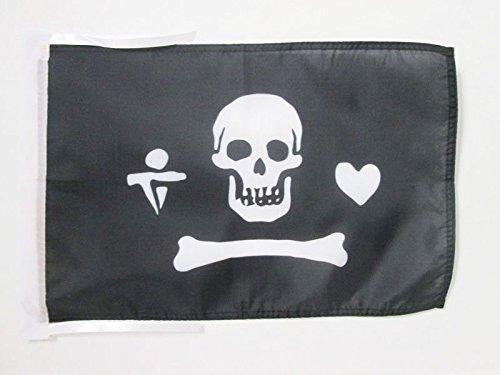 AZ FLAG Drapeau Pirate Stede Bonnett 45x30cm - PAVILLON Corsaire tête de Mort 30 x 45 cm Haute qualité