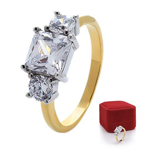 prettique® Stars & Royals Damen Ring Meghan – Sterlingsilber/Vergoldet – Silberring/Goldring - Zirkonia Steine - Verlobungsring aus dem britischen Königshaus (Vergoldet, 57 (18.1))