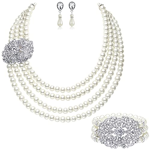 BABEYOND 1920s Gatsby Pearl Necklace Vintage Bridal Pearl Necklace Earrings Jewelry Set Multilayer Imitation Pearl Necklace with Brooch (Style 4-Silver)