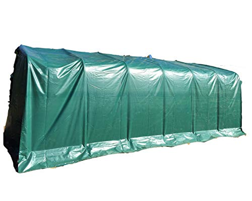 Ambisphere Garagenzelt Professional 3,3x7,2m Hochwertiges Carport Zelt mit 550g/m² PVC Plane und Stahlrohrkonstruktion UV-Resistente und feuerhemmende Zeltgarage in Grau 5 Jahre Garantie
