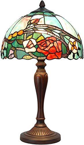 Bieye L30737 - Lampada da tavolo in vetro colorato con fiori di rosa e paralume largo 30,5 cm, altezza 53,3 cm, colore: Rosso