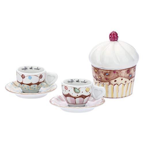 THUN ® - Set 2 tazzine caffè e zuccheriera Sweetcake