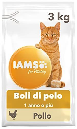 Iams for Vitality Hairball Control alimento Secco per Gatti Adulti e Anziani con Pollo Fresco - 3 kg