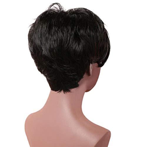 Votre Style Synthétique Pixie Court Perruques Coupées Avec Une Frange Pour Les Femmes Noires Cheveux Naturels Dames Perruque Complète Fibre Résistante À La Chaleur Féminine, Noir Naturel, 10 pouces