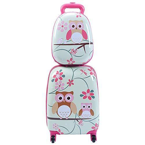 DREAMADE DREAMADE Kinderkoffer-Set Kiderkoffer mit Rucksack, Kindertrolley Kindergepäck, Handgepäck Reisegepäck Hartschalenkoffer für Kinder (Eulen)