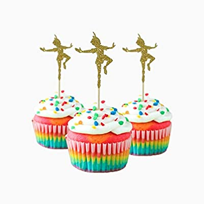 Peter Pan inspired Party Wedding Birthday Cupcake Topper cardstock Color Gold 12 pc Pack Decoration