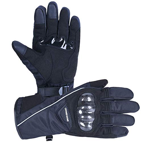 15℉/-10°C, Winter Motorcycle Gloves, with 3M THINSULATE, Men Women Touchscreen Waterproof for Riding, Snowmobile, Skiing, Cycling Black, XL