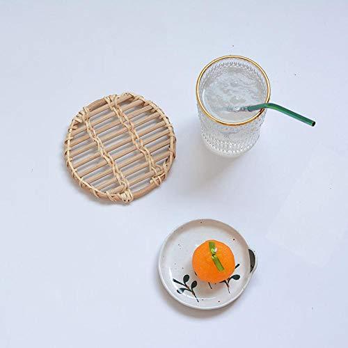 Yanxinenjoy Rundes Rattan, Aufbewahrung auf der Tischplatte, handgefertigtes Bambusgewebe, kreativer Kleiner isolierter Topflappen-Weiße Rebe 13 cm