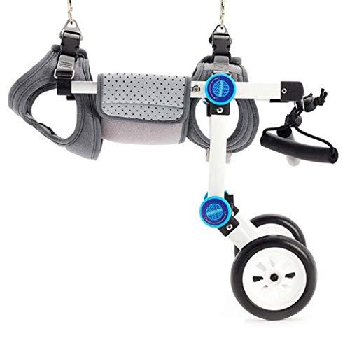 Silla de ruedas ajustable para perros de aleación de aluminio de 2 ruedas para la recuperación de las extremidades traseras, adecuada para discapacitados, mascotas / perros / gatos frágiles de 1 a 2