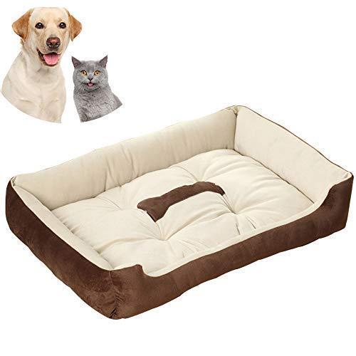 Pejoye Hundebett Waschbar, Katzenbett Haustierbett Extra Groß Haustierbett Matratze Kissen Weiches Warmes Baumwollbett mit SüßEm Knochenbild und Anti-Rutsch-Boden