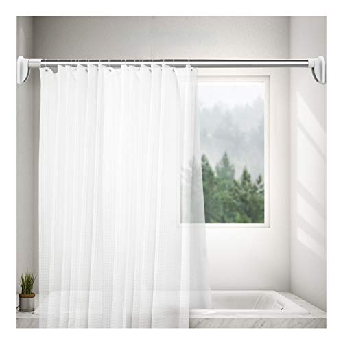 Shower Curtain Rod Spring Tension Curtain Rod Anti-Slip No Drilling Easy to Install Tension Shower Doorway Curtain Rod Resistant Window Rods 19.68-31.5 Inch