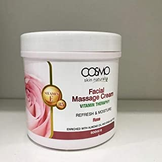 Cosmo Skin Naturals Facial Massage cream Vitamin Therapy For Refresh and Moisture 20 oz Rose Enriched with Almond Oil and Shea Butter With Vitamin E and B5