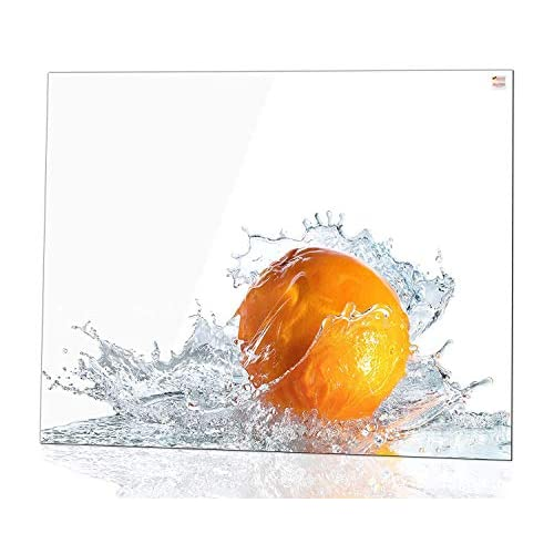 Glas Expert Paraschizzi in Vetro per Cucina | 75 x 60 cm | Arancia – Pure White | EVOPRINT ® - Ultra Clear Glass | Pannello di Decorazione da Perette | Paraspruzzi Piano Cottura | Rivestimento Parete